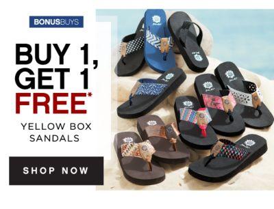 BONUSBUYS | BUY 1, GET 1 FREE* | WOMEN'S YELLOW BOX SANDALS | SHOP NOW