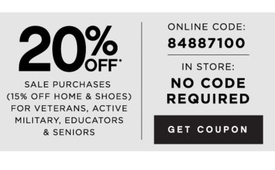 20% off sale purchases (15% off home & shoes) for veterans, active military, educators & seniors | get coupon