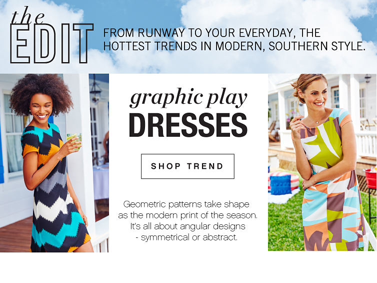 The Edit - from runway to your everyday, the hottest trends in modern, southern style. | Graphic Play Dresses - Geometric patterns tkae shape as the modern print of the season. It's all about angular designs - symmetrical or abstract. - Shop Trend