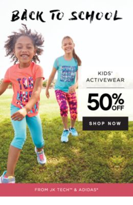 BACK TO SCHOOL | KIDS' ACTIVEWEAR | 50% OFF SHOP NOW | FROM JK TECH™ & ADIDAS®