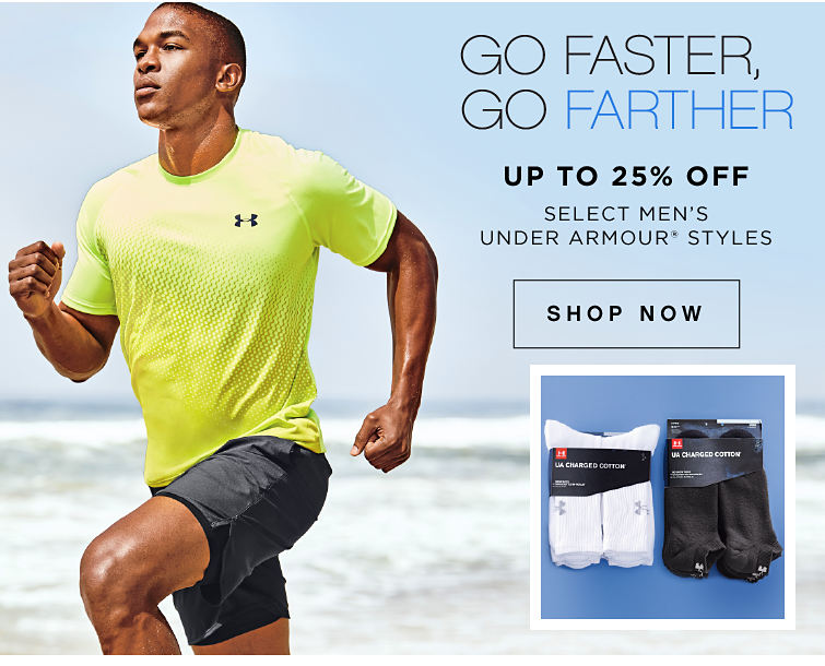 Go Faster Go Farther | Select men's Under Armour Styles | Shop Now