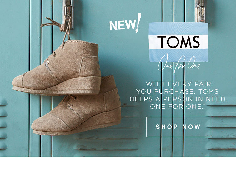 New! Toms | One For One | With Every Pair You Purchase, Toms Helps A Person In Need. One For One. | Shop Now