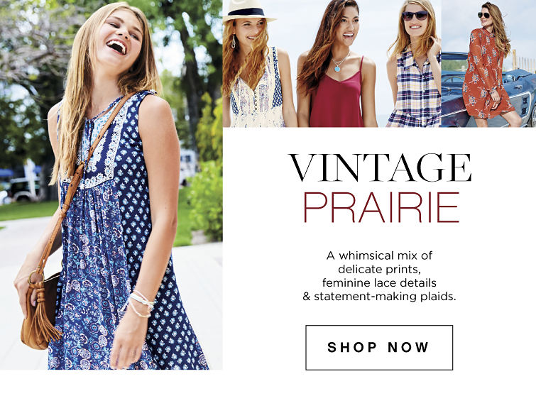 Vintage Prairie | A whimsical mix of delicate prints, feminine lace details and statement-making plaids. | shop now