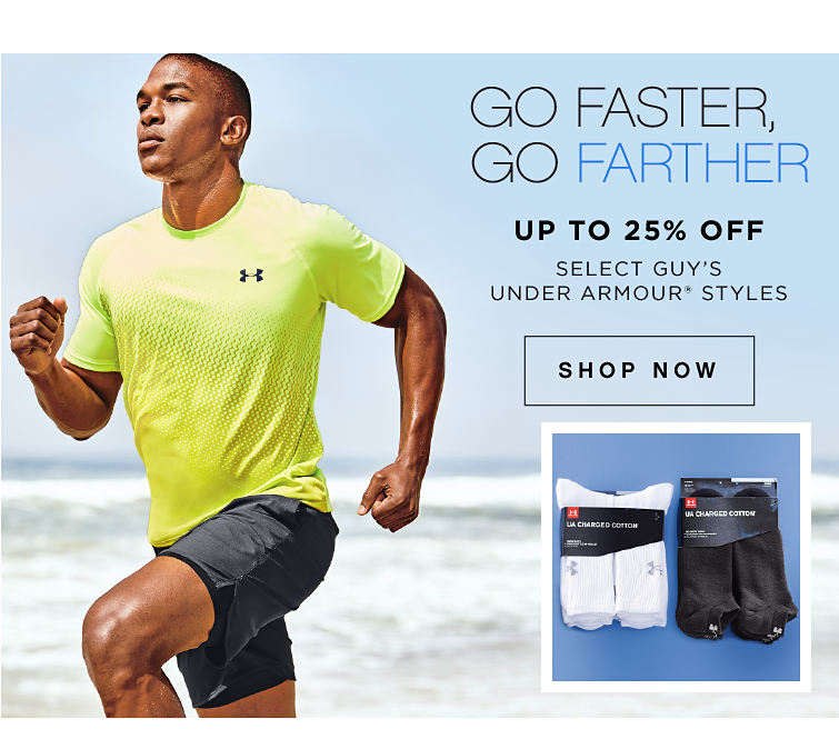 Go Faster, Go Farther, Up To 25% Off Select Guys Under Armour Styles | Shop Now