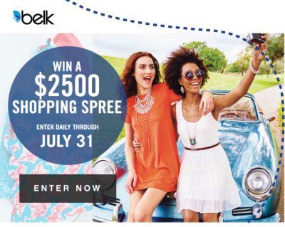 WIN A $2500 SHOPPING SPREE | ENTER DAILY THROUGH JULY 31 | ENTER NOW