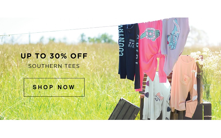 Up to 30% off Southern Tees | shop now