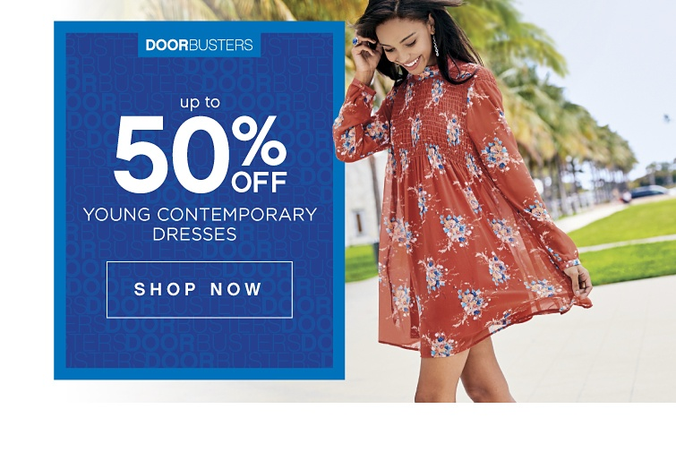 DOORBUSTERS - Up to 50% off Young Contemporary Dresses | shop now