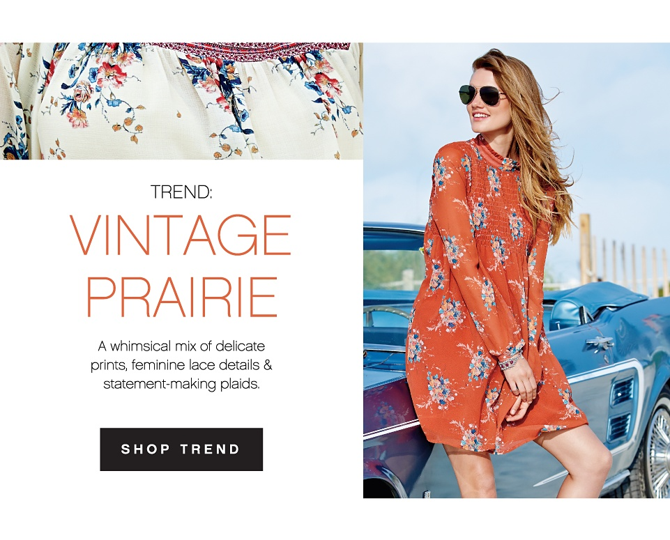 Trend: Vintage Prairie | A whimsical mix of delicate prints, feminine lace details & statement-making plaids. | Shop Young Contemporary