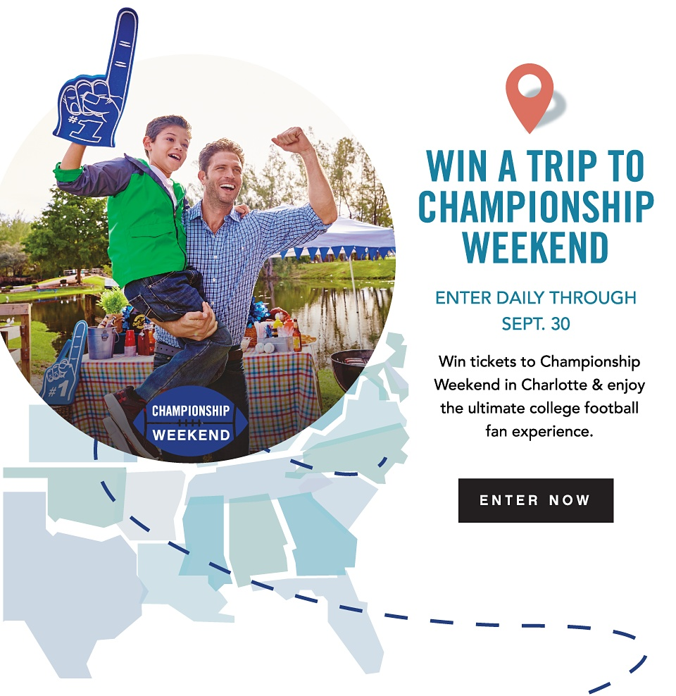Win Tickets To Championship Weekend | Enter Daily Through Friday, 9/30 | Win tickets to Championship Weekend in Charlotte & enjoy the ultimate college football fan experience. A $100 Belk gift card will get you there in style! | Enter Now