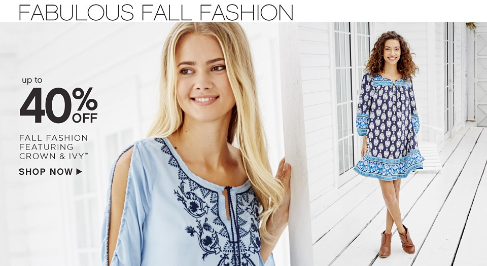 Up to 40% off Fall Fashion featuring crown & ivy™ - Shop Now