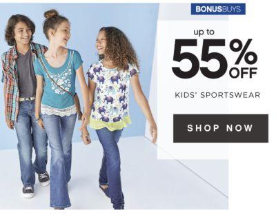 BONUSBUYS   up to 55% OFF KIDS' SPORTSWEAR   SHOP NOW