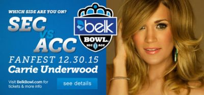Which side are you on? SEC vs ACC | Fanfest 12.30.15 | Carrie Underwood | Visit BelkBowl.com for tickets & more info | see details