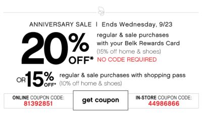 20% off anniversary sale