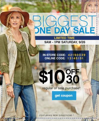 one day sale 10 off 30