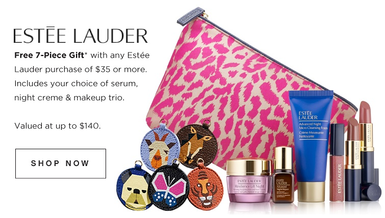 Estée Lauder - Free 7-piece gift with any Estée Lauder purchase of $35 or more. Includes your choice of serum, night creme & makeup trio. Valued at up to $140. Shop now.