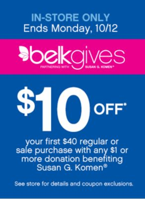 In-Store Only Belk Gives $10 Off $40 Purchase