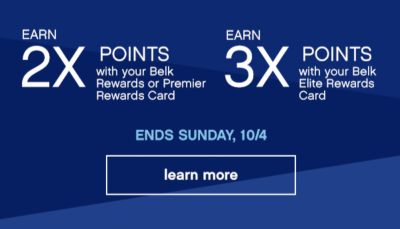 Earn 2x 3x Points Ends, Sunday 10/4