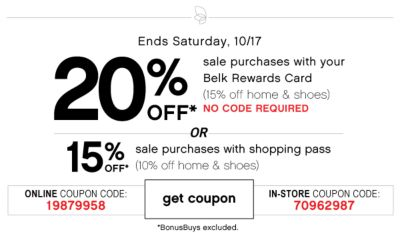 20% Off sale purchases with Belk Rewards Card