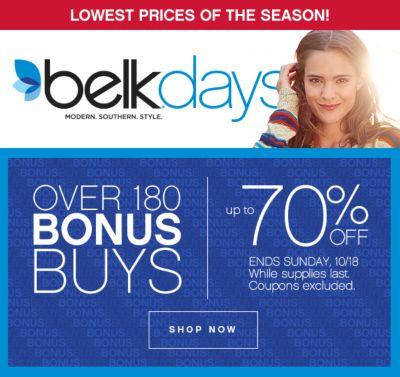 Belk Days Up to 70% Off Bonus Buys