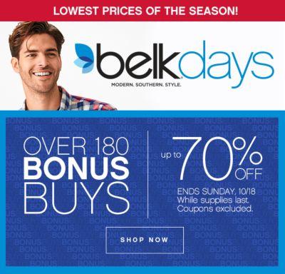Belk Days Bonus Buys Up to 70% Off