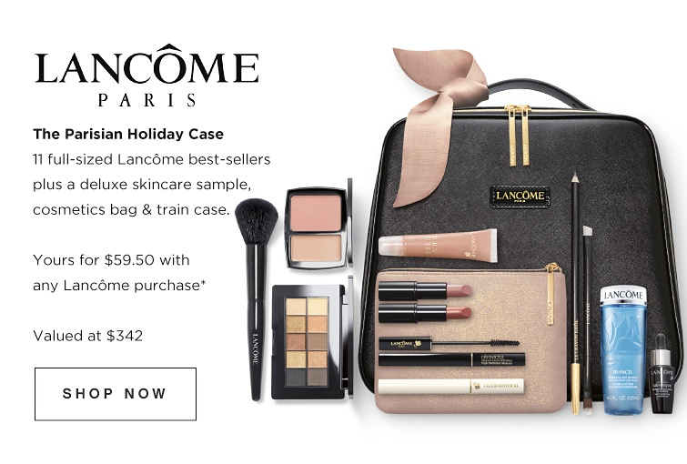Lancôme Paris - The Parisian Holiday Case. 11 full-sized Lancôme best-sellers plus a deluxe skincare sample, cosmetics bag & train case. Yours for $59.50 with any Lancôme purchase while quantities last. Valued at $342. Shop now