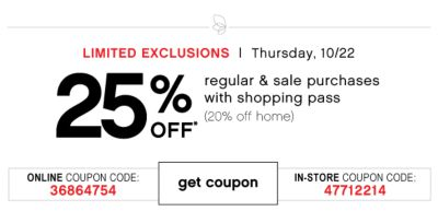 25% Off Regular Sale Purchases With Shopping Pass