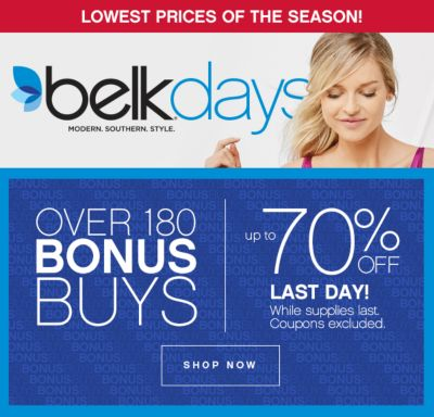 Over 180 Bonus Buys | Up to 70% Off LAST DAY!