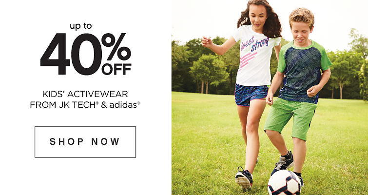 Up to 40 percent off Kids' Activewear from JK Tech and Adidas. Shop Now.