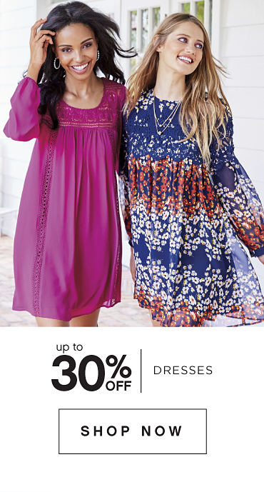 Up to 30 percent off Dresses. Shop Now.