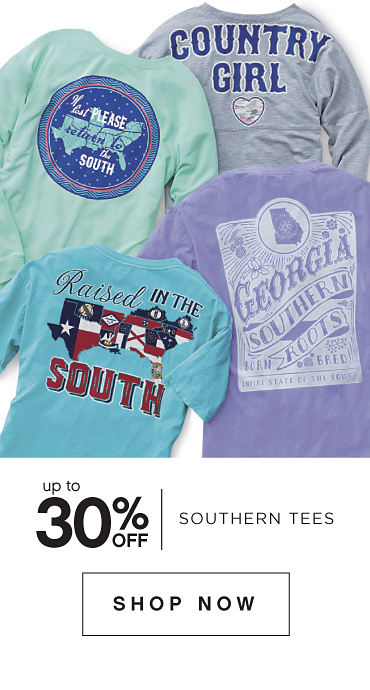 Up to 30 percent off Southern Tees. Shop Now.