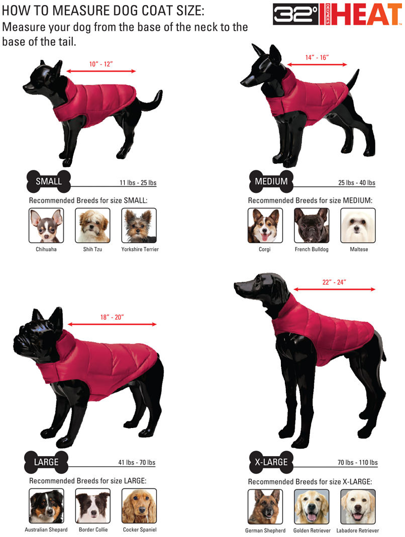32 degree heat trademark. How to measure dog coat size. Measure your dog from the base of the neck to the base of the tail.