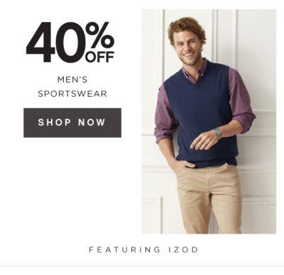 40% OFF MEN'S SPORTSWEAR | SHOP NOW | FEATURING IZOD