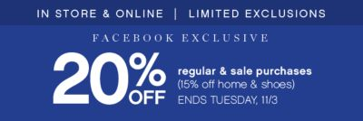 20% Off Regular and Sale Purchases