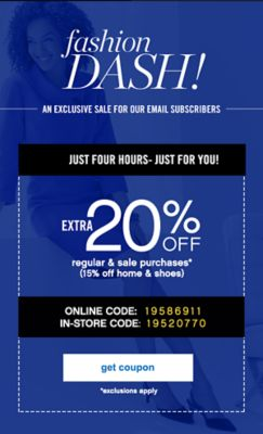 Extra 20% Off Regular and sale purchases