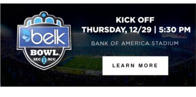 KICK OFF THURSDAY, 12/19 | 5:30PM | BANK OF AMERICA STADIUM | LEARN MORE