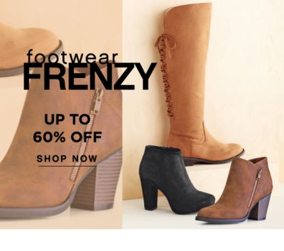 footwear FRENZY | UP TO 60% OFF | SHOP NOW
