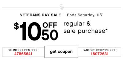 Veterans Day Sale $10 Off $50