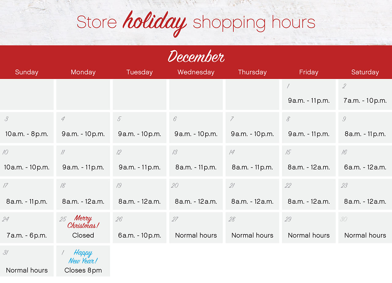 Store holiday shopping hours