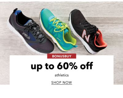 BONUSBUYS | up to 60% off athletics | SHOP NOW