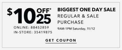 SHOP EARLY ON SATURDAY & SAVE!