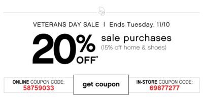 Veterans Day Sale 20% Off Sale Purchases