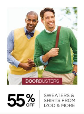55% off sweaters and shirts from izod