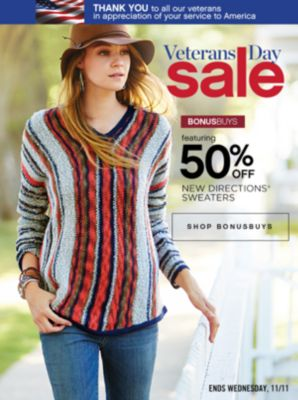 Veterans Day Sale 50% Off New Directions Sweaters
