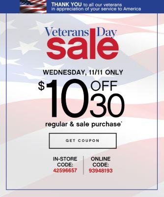 Veterans Day Sale $10 Off $30