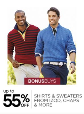 Up to 55% Off Mens Shirts, Sweaters From IZOD, Chaps & More