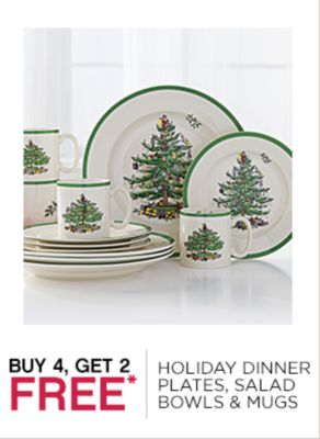 Buy 4, Get 2 Free Holiday Dinner Plates