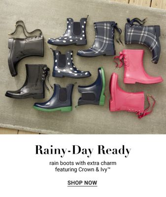 Rainy-Day Ready - Rain Boots with Extra Charm featuring Crown & Ivy - Shop Now