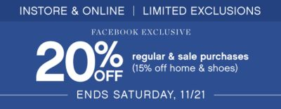 20 Off regular & sale purchases