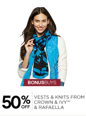 50% Off Vests and Knits