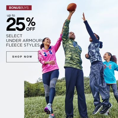 BONUSBUYS | up to 25% OFF SELECT UNDER ARMOUR FLEECE STYLES | SHOP NOW
